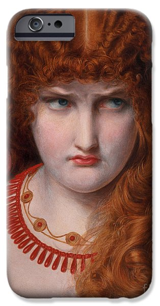 Zeus iPhone Cases - Helen of Troy iPhone Case by Anthony Frederick Augustus Sandys