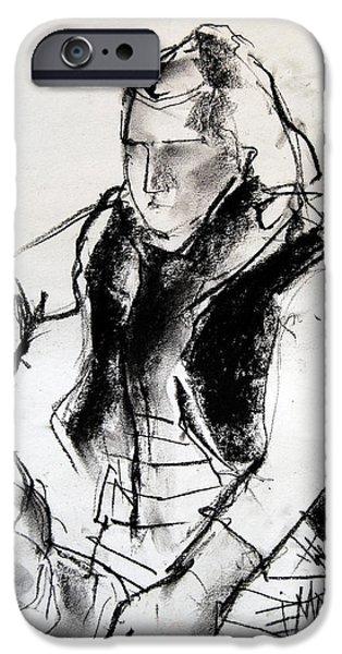 Pastel Drawings iPhone Cases - Helene #3 - figure series iPhone Case by Mona Edulesco