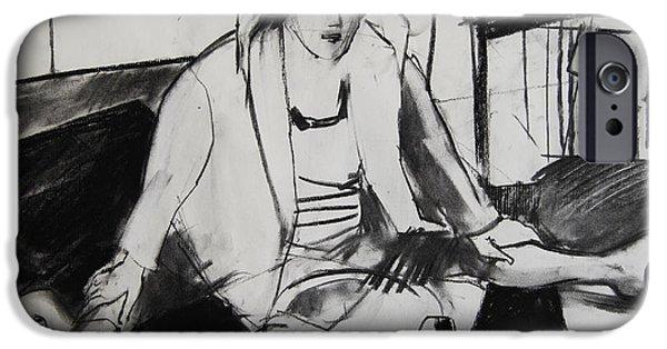 Pastel Drawings iPhone Cases - Helene #7 - figure series iPhone Case by Mona Edulesco