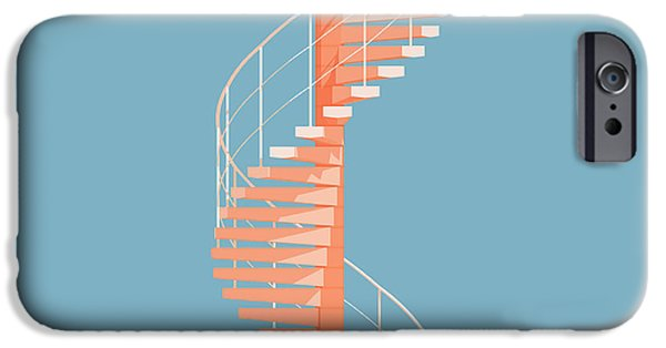 Architecture Digital iPhone Cases - Helical Stairs iPhone Case by Peter Cassidy