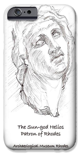 Statue Portrait Drawings iPhone Cases - Helios the patron god of Rhodes iPhone Case by Sharon McNeil