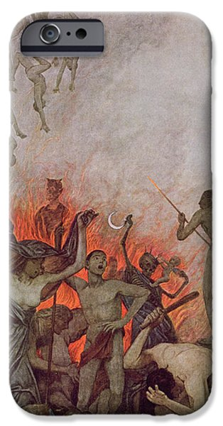 Punishment iPhone Cases - Hell iPhone Case by Hans Thoma