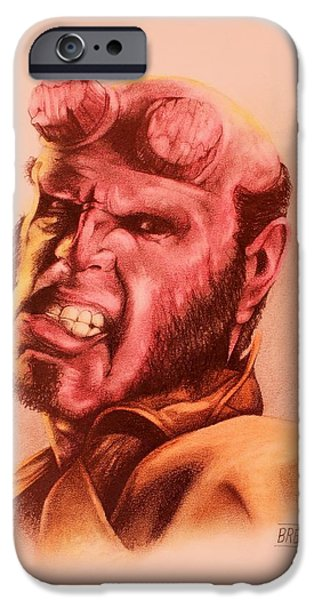 The Horse Pastels iPhone Cases - Hellboy iPhone Case by Brent Andrew Doty