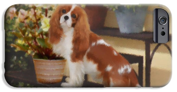 Puppy Pastels iPhone Cases - Hellebore Admirer Cavalier  iPhone Case by Magna Carta