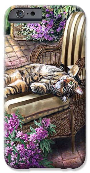 Garden Scene Paintings iPhone Cases - Hello from a Kitty iPhone Case by Gina Femrite