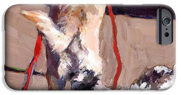 Mixed Labrador Retriever Paintings iPhone Cases - Hello iPhone Case by Molly Poole
