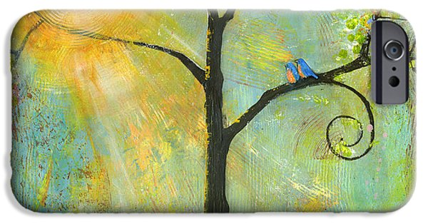 Colorful Paintings iPhone Cases - Hello Sunshine Tree Birds Sun Art Print iPhone Case by Blenda Studio
