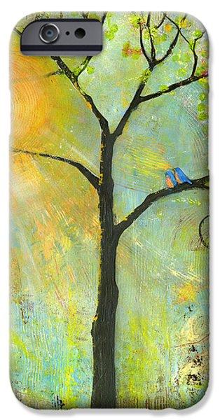 Couple iPhone Cases - Hello Sunshine Tree Birds Sun Art Print iPhone Case by Blenda Studio