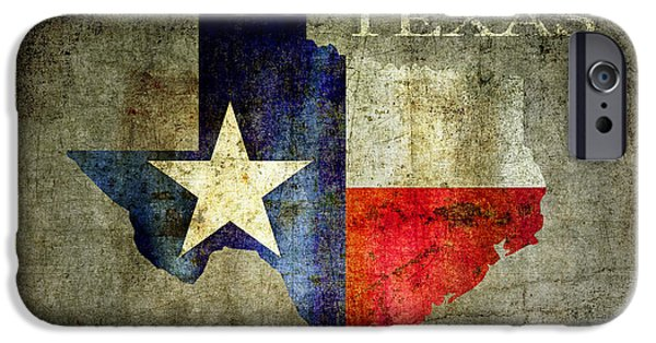 Red White And Blue Digital iPhone Cases - Hello Texas iPhone Case by Daniel Hagerman