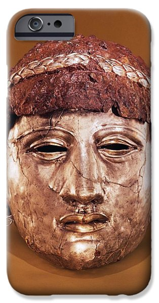 Masks iPhone Cases - Helmet In Two Parts Iron iPhone Case by Thracian