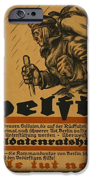 Wwi Drawings iPhone Cases - Help iPhone Case by Louis Oppenheim