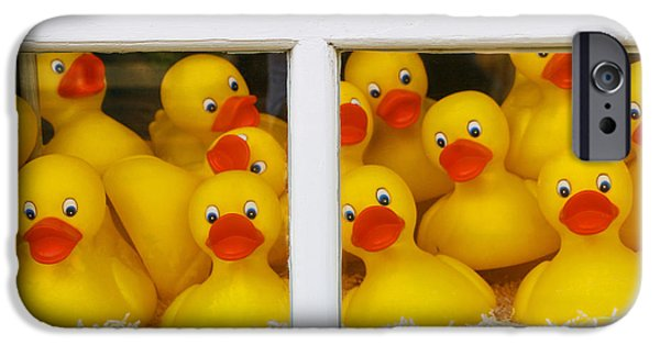 Toy Store iPhone Cases - Help Were Trapped in a Window Display and Cant Get Out iPhone Case by Allen Beatty