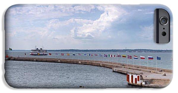 Port Town iPhone Cases - Helsingborg port Panorama iPhone Case by Antony McAulay