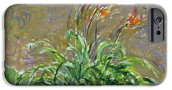 `les iPhone Cases - Hemerocallis, 1914-17 Oil On Canvas iPhone Case by Claude Monet