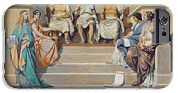 Painter Photographs iPhone Cases - Hemicycle Of The Ecole Des Beaux-arts, C.1836-41 Oil On Paper Glued On Canvas iPhone Case by Hippolyte Delaroche