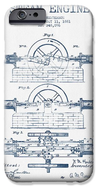 Steam Engine iPhone Cases - Henderson Steam Engine Patent Drawing From 1881- Blue Ink iPhone Case by Aged Pixel