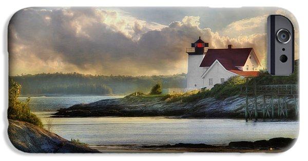 New England Lighthouse iPhone Cases - Hendricks Head Light iPhone Case by Lori Deiter