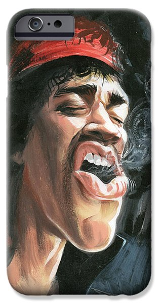 Johnny Allen Hendrix iPhone Cases - Jimi Hendrix iPhone Case by Art