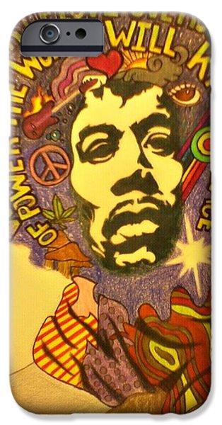 Diy Drawings iPhone Cases - Hendrix iPhone Case by Elizabeth Cadena