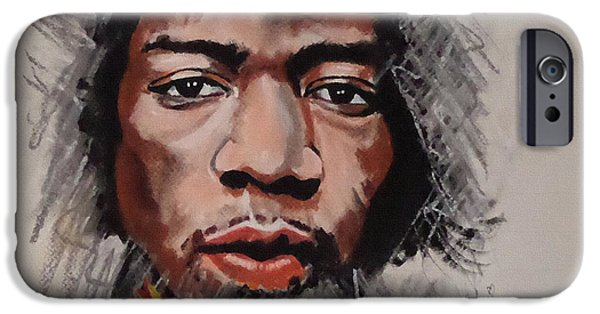Musican Drawings iPhone Cases - Hendrix in Pastels iPhone Case by Julie Hollis