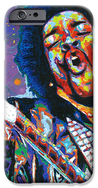 Star Spangled Banner Paintings iPhone Cases - Hendrix iPhone Case by Maria Arango
