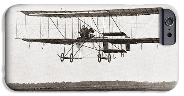 Aviator iPhone Cases - Henri Farman Winning The Grand Prix Of Two Thousand Pounds For The Longest Flight Of 112 Miles iPhone Case by Bridgeman Images