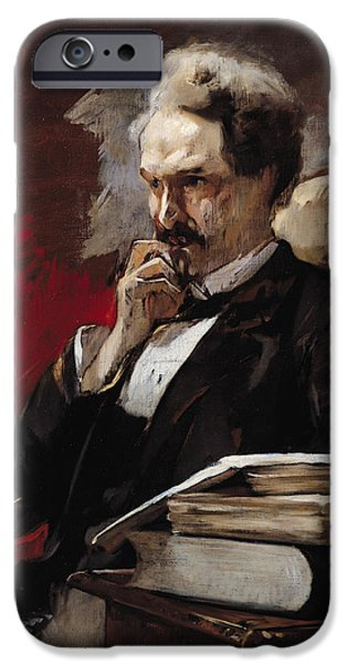 Politician Photographs iPhone Cases - Henri Rochefort 1830-1913 Oil On Canvas iPhone Case by Auguste Baud-Bovy