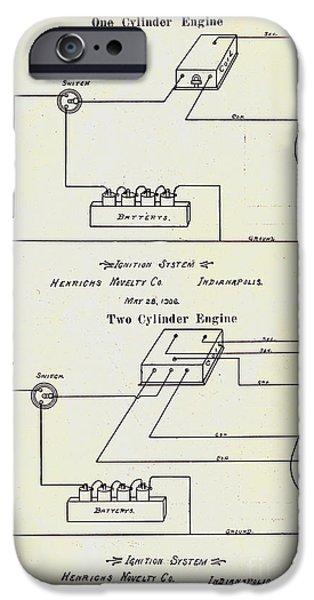 Electricity Drawings iPhone Cases - Henricks Magnetos 1906 No.1 iPhone Case by Peter Gumaer Ogden