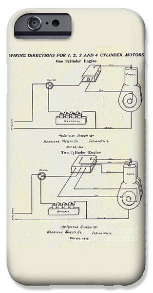 Electricity Drawings iPhone Cases - Henricks Magnetos 1906 No.1 iPhone Case by Peter Gumaer Ogden Gallery