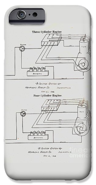 Electricity Drawings iPhone Cases - Henricks Magnetos 1906 No.21 iPhone Case by Peter Gumaer Ogden Gallery