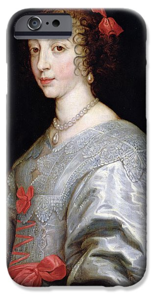 Pearls iPhone Cases - Henrietta-maria Of France 1609-69 Oil On Canvas iPhone Case by Sir Anthony van Dyck