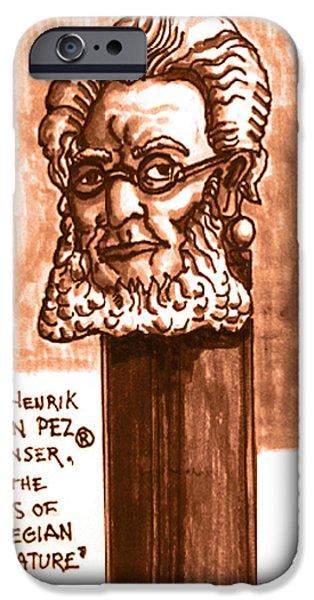 Monotone Drawings iPhone Cases - Henrik Ibsen iPhone Case by Del Gaizo
