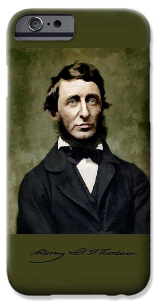 Walden Pond Digital iPhone Cases - Henry David Thoreau iPhone Case by John Feiser