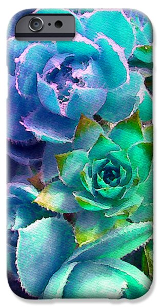 Chicks iPhone Cases - Hens and Chicks series - Deck Blues iPhone Case by Moon Stumpp
