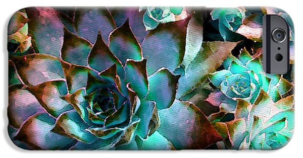 Hens iPhone Cases - Hens and Chicks series - Verdigris iPhone Case by Moon Stumpp