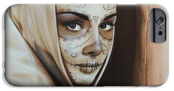 Cool Art iPhone Cases - Hepburn De Los Muertos iPhone Case by Christian Chapman Art