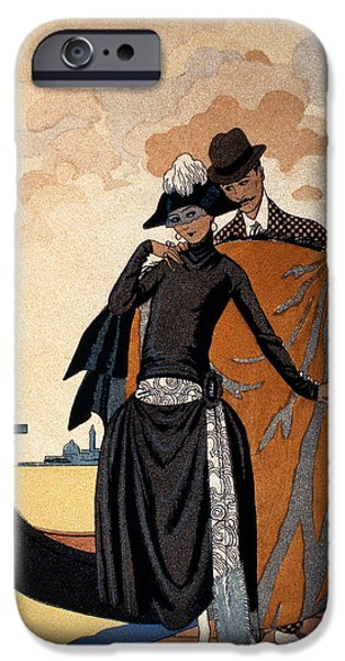 Couple iPhone Cases - Her and Him Fashion Illustration iPhone Case by Georges Barbier