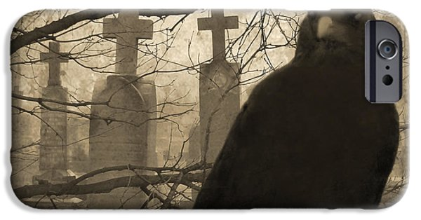 Halloween Digital iPhone Cases - Her Graveyard iPhone Case by Gothicolors Donna Snyder