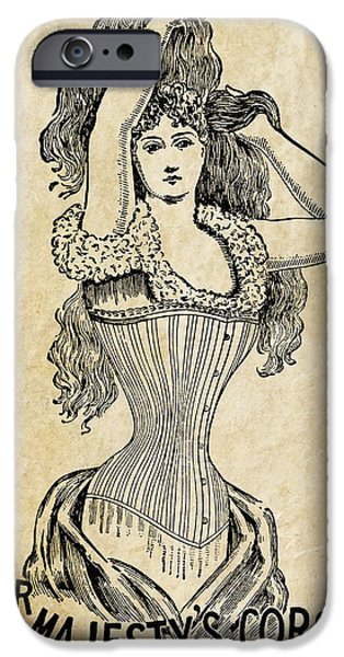 Big Hair iPhone Cases - Her Majestys Corset  1897 iPhone Case by Daniel Hagerman