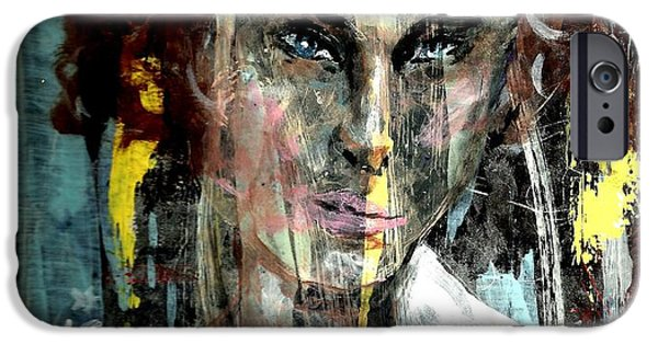 Mental Paintings iPhone Cases - Her own mind iPhone Case by P J Lewis