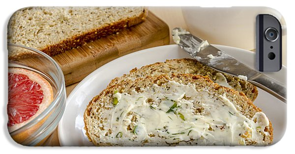 Loaf Of Bread iPhone Cases - Herb Butter and Whole Grain Bread iPhone Case by Teri Virbickis