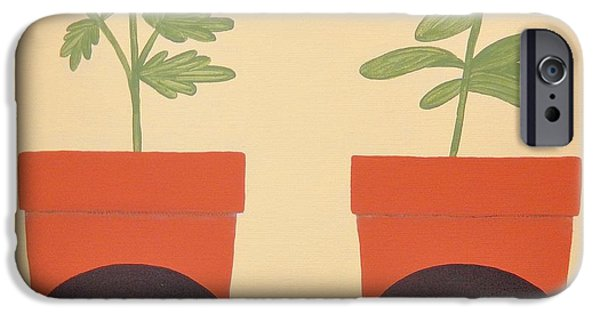 Work Tool Paintings iPhone Cases - Herb Garden 3 iPhone Case by Catherine Mangis