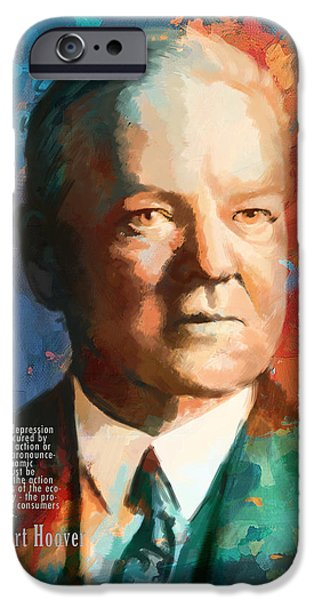 Thomas Jefferson Paintings iPhone Cases - Herbert Hoover iPhone Case by Corporate Art Task Force
