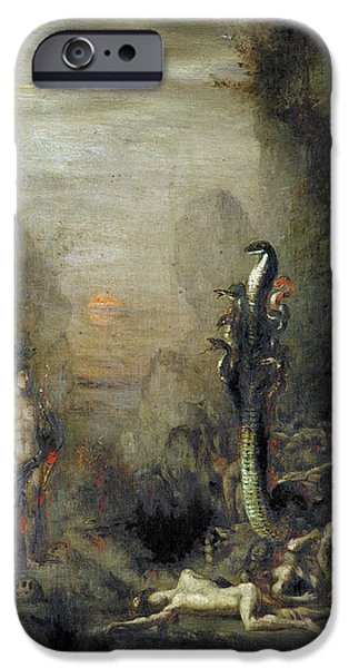 Labour iPhone Cases - Hercules And The Lernaean Hydra, After Gustave Moreau, C.1876 Oil On Canvas iPhone Case by Narcisse Berchere