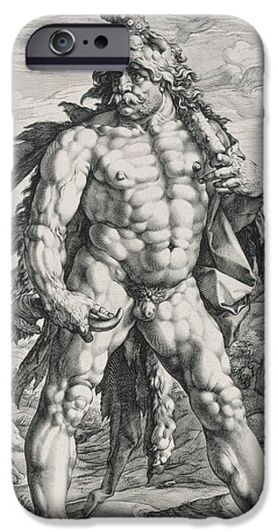 Character Portraits Drawings iPhone Cases - Hercules iPhone Case by Hendrik Goltzius
