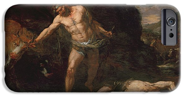 Labour iPhone Cases - Hercules Slays The Giant Cacus And Steals Back The Cattle Of Geryon iPhone Case by Giambattista Langetti