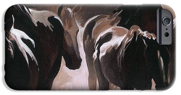 Monotone Paintings iPhone Cases - Herd of Horses iPhone Case by Natasha Denger