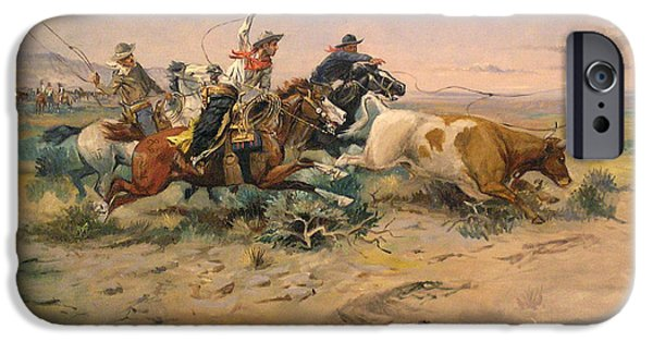 Roping Horse iPhone Cases - Herd Quit iPhone Case by Charles Russell
