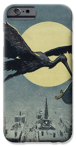 Stork iPhone Cases - Here comes the stork circa circa 1913 iPhone Case by Aged Pixel