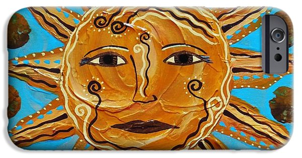 Sun Rays Paintings iPhone Cases - Here Comes the Sun iPhone Case by Jean Fry